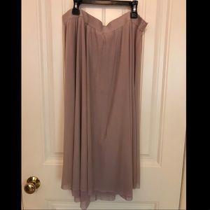 LOFT blush pink ballerina mesh midi skirt